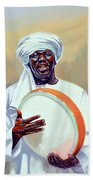 Nubian Musician Player Playing Duff Bath Towel