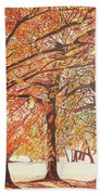 Oak Trees In The Park Hand Towel