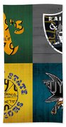 Oakland Sports Fan Recycled Vintage California License Plate Art Athletics Raiders Warriors Sharks Bath Towel