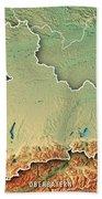 Oberbayern Regierungsbezirk Bayern 3d Render Topographic Map Bor Bath Towel