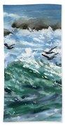 Ocean Waves And Pelicans Bath Towel