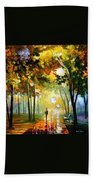October Reflections - Palette Knife Oil Painting On Canvas By Leonid Afremov Bath Towel