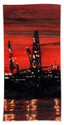 Oil Rigs Night Construction Portland Harbor Bath Towel
