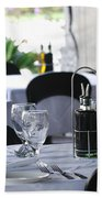 Oils And Glass At Dinner Bath Towel