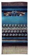 Old Blue Typewriter Bath Towel