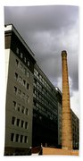 Old Brick Chimney Amongst Modern Office Buildings Near The Railway Station Perugia Umbria Italy Bath Towel