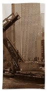 Old Chicago River Bridges Bath Towel