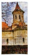 Old Church With Red Roof Hand Towel