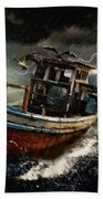 Old Fishing Boat In A Storm  L A Bath Towel