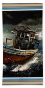 Old Fishing Boat In A Storm L B With Decorative Ornate Printed Frame. Bath Towel