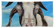 Old Goat - Painting By Cindy Chinn Bath Towel