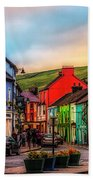 Old Irish Town The Dingle Peninsula At Sunset Hand Towel