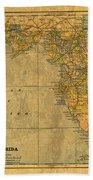 Old Map Of Florida Vintage Circa 1893 On Worn Distressed Parchment Bath Towel