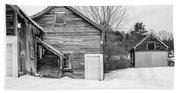Old New England Barns In Winter Bath Towel