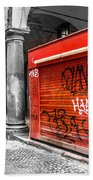 Old Newsstand Closed In Bologna Canvas - Technique Of Selective Color -  Black And White Only Red Bath Towel