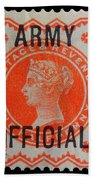 Old Orange Halfpenny Stamp  Bath Towel