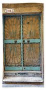 Old Ornate Wrought Iron Door In Venice, Italy  Bath Towel