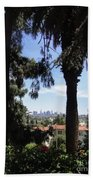 Old Palm Trees And Downtown Los Angeles Bath Towel