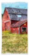 Old Red Barn Abandoned Farm Vermont Bath Towel