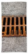 Old Rusty Street Grate Near The Sea In Cres Bath Towel