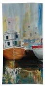 Old Ships At Dock Bath Towel