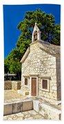 Old Stone Chapel In Primosten Bath Towel