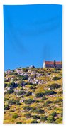 Old Stone Church And Green Energy Plant Bath Towel