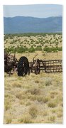 Old Tractor And Rake In New Mexico Bath Towel