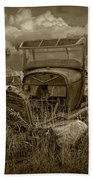 Old Truck Abandoned In The Grass In Sepia Tone Bath Towel