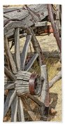 Old Wagon Wheels From Montana Bath Towel
