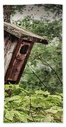 Old Weathered Worn Bird House In Summer Bath Towel