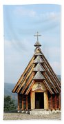 Old Wooden Church And Bell Tower Bath Towel