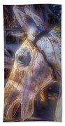 Old Wooden Horse Head Bath Towel