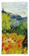 Olive Trees And Poppies  Bath Towel