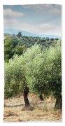 Olive Trees Hill Bath Towel