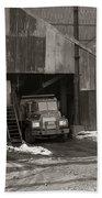 Olyphant Pa Coal Breaker Loading Trucks And Gondola Car Winter 1971 Bath Towel