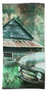 On The Edge Of The Green Mountains Painting Bath Towel