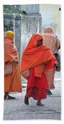 On The Way To Morning Prayers - India Bath Towel