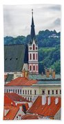 One Of The Churches In Cesky Kumlov In The Czech Republic Bath Towel