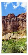 Onward And Upward At The Superstition Mountains Of Arizona Bath Towel