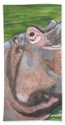 Open Mouthed Hippo On Wood Bath Towel