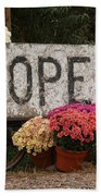 Open Sign With Flowers Fine Art Photo Bath Towel
