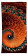 Orange And Aqua Spiral Bath Towel