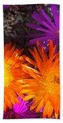Orange And Fuchsia Color Flowers Bath Towel