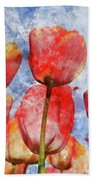 Orange And Yellow Tullips With Blue Sky Bath Towel