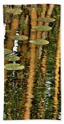 Orange Bamboo Abstract, Reflection On Water Bath Towel
