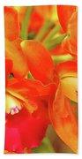 Orange Cattleya Orchid Bath Towel