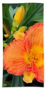 Orange Gladiola Flower And Buds Bath Towel