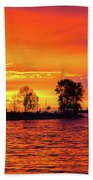 Orange Glow Sunset At Sunset Beach In Vancouver Bc Bath Towel