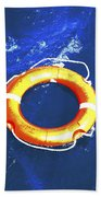 Orange Life Buoy In Blue Water Hand Towel